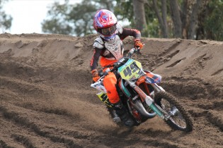 KTM's Jett Lawrence charged to a commanding qualifying race win today at Shrubland Park for the first official race day of the 2015 KTM AJMX. Image - Tenaya Smith - TS Photographics